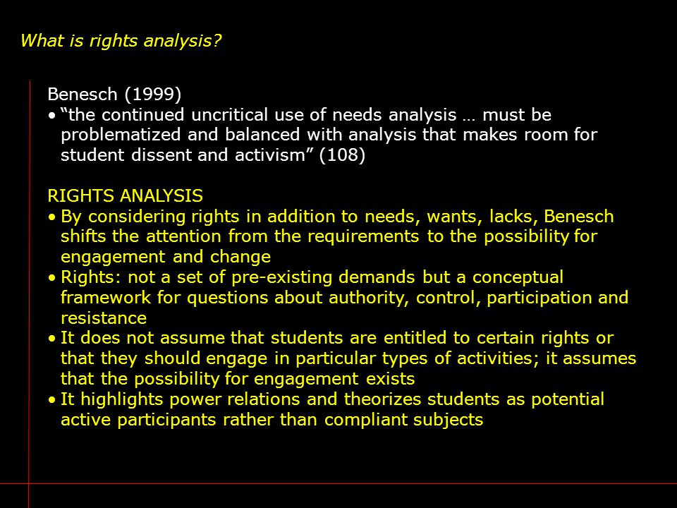 "What is rights analysis? Benesch (1999) ""the continued uncritical use of needs analysis … must be problematized and balanced with analysis that makes"
