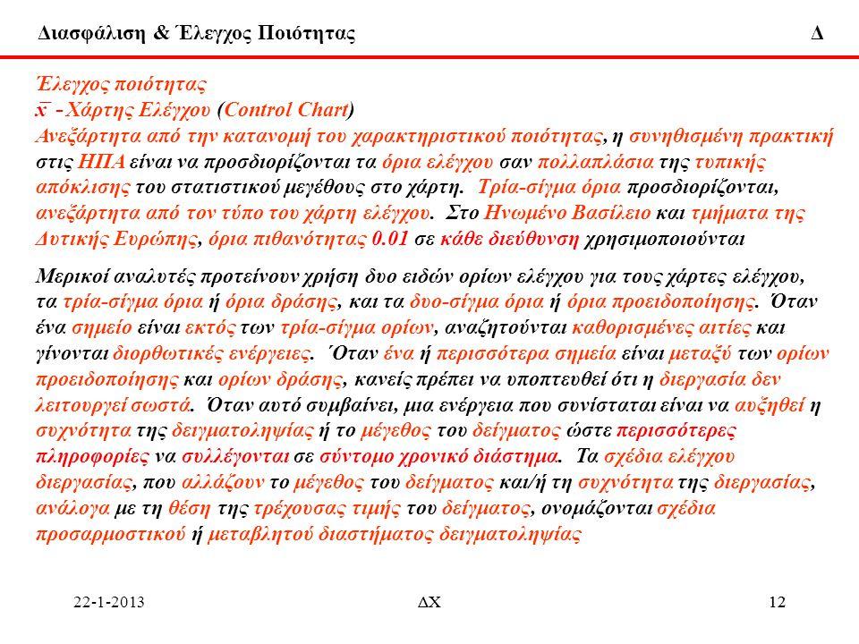 Διασφάλιση & Έλεγχος Ποιότητας Δ 22-1-2013ΔΧ12ΔΧ12 Έλεγχος ποιότητας x ̅ - Χάρτης Ελέγχου (Control Chart) Ανεξάρτητα από την κατανομή του χαρακτηριστι