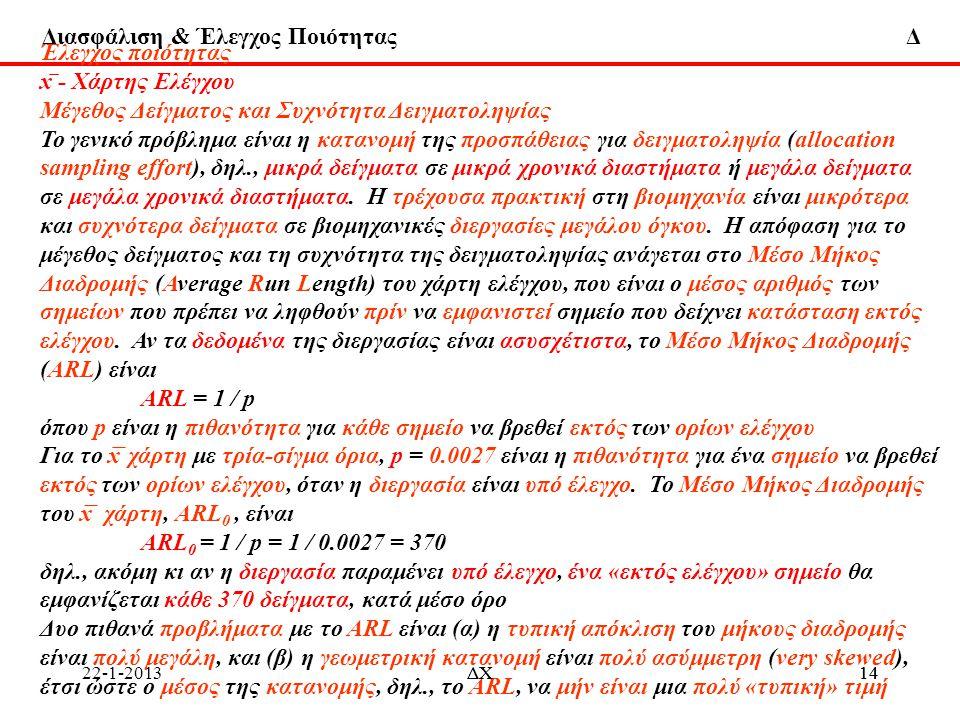 Διασφάλιση & Έλεγχος Ποιότητας Δ 22-1-2013 Έλεγχος ποιότητας x ̅ - Χάρτης Ελέγχου Μέγεθος Δείγματος και Συχνότητα Δειγματοληψίας Το γενικό πρόβλημα εί