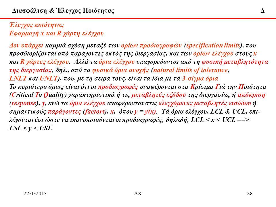 Διασφάλιση & Έλεγχος Ποιότητας Δ 22-1-2013ΔΧ28ΔΧ28 Έλεγχος ποιότητας Εφαρμογή x ̅ και R χάρτη ελέγχου Δεν υπάρχει καμμιά σχέση μεταξύ των ορίων προδια