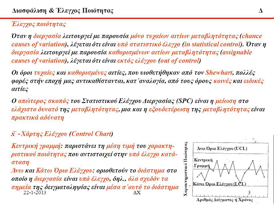 Διασφάλιση & Έλεγχος Ποιότητας Δ Έλεγχος ποιότητας Χάρτης Εκθετικά Σταθμισμένου Διακινούμενου Μέσου (Εxponentially Weighted Moving Average chart) Ο ΕWMA χάρτης μπορεί επίσης να τροποποιηθεί για την πρόβλεψη (forecast)του μέσου Η συνηθισμένη μεταβλητή ΕWMA είναι z i = λx i + (1 – λ) z i-1 = z i-1 + λ(x i - z i-1 ) Aν θεωρηθεί ότι z i-1 είναι η πρόβλεψη του μέσου διεργασίας, μ i,τη χρονική περίοδο i, x i - z i-1 = e i είναι το σφάλμα πρόβλεψης του μέσου τη χρονική περίοδο i, z i = z i-1 + λe i Aν προστεθεί ακόμη ένας όρος στο δεξιό μέρος (RHS) της προηγούμενης σχέσης, γίνεται όπου λ 1 και λ 2 είναι σταθερές που σταθμίζουν το σφάλμα σε χρόνο i, και το άθροισμα των σφαλμάτων που συσσωρεύεται μέχρι το χρόνο i Aν προστεθεί στο δεξί μέρος (RHS) της προηγούμενης σχέσης, η διαφορά ∇ e i = e i – e i-1, η τελική μορφή του z i είναι δηλ., η πρόβλεψη του μέσου διεργασίας σε χρόνο i είναι ίση με την τρέχουσα τιμή z i-1, συν ένα όρο, ανάλογο του σφάλματος, συν ένα όρο που σχετίζεται με το άθροισμα σφαλμάτων, συν ένα όρο που σχετίζεται με διαφορά σφαλμάτων.