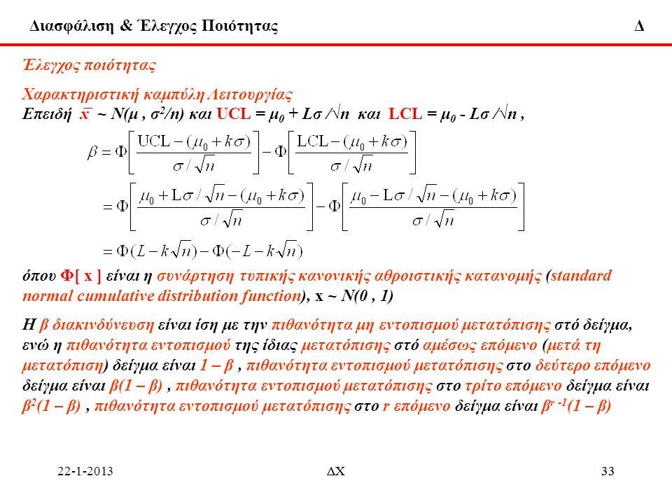Διασφάλιση & Έλεγχος Ποιότητας Δ 22-1-2013ΔΧ33ΔΧ33 Έλεγχος ποιότητας Χαρακτηριστική καμπύλη Λειτουργίας Επειδή x ̅ ~ Ν(μ, σ 2 /n) και UCL = μ 0 + Lσ /
