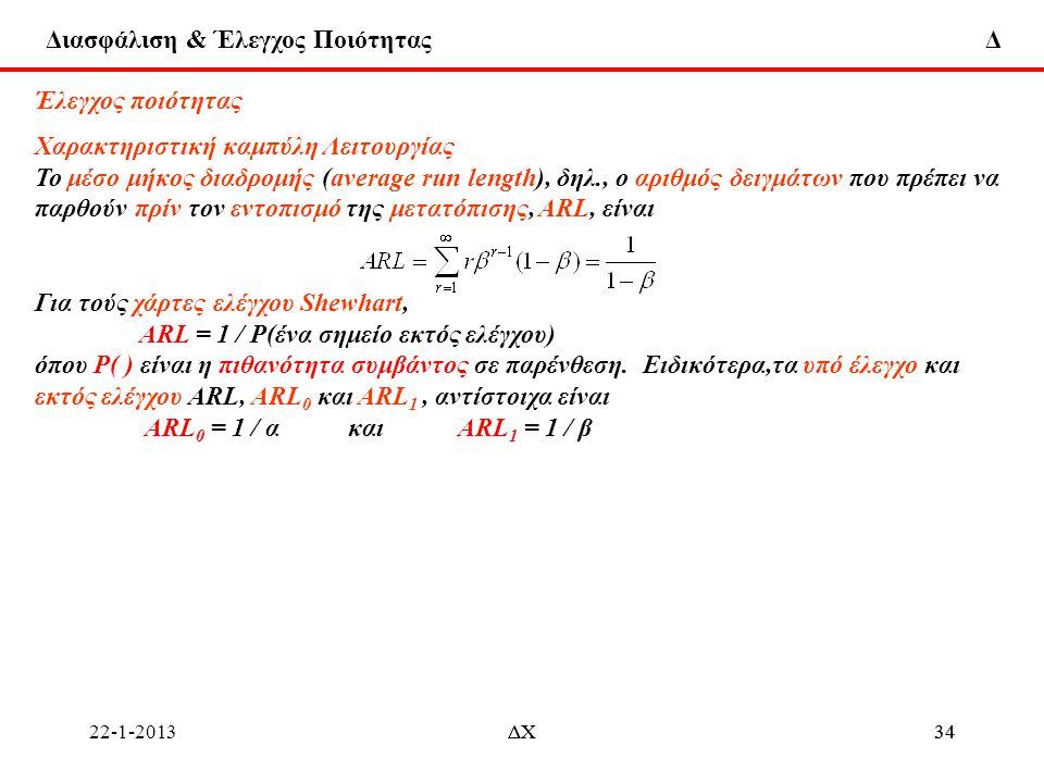 Διασφάλιση & Έλεγχος Ποιότητας Δ 22-1-2013ΔΧ34ΔΧ34 Έλεγχος ποιότητας Χαρακτηριστική καμπύλη Λειτουργίας To μέσο μήκος διαδρομής (average run length),