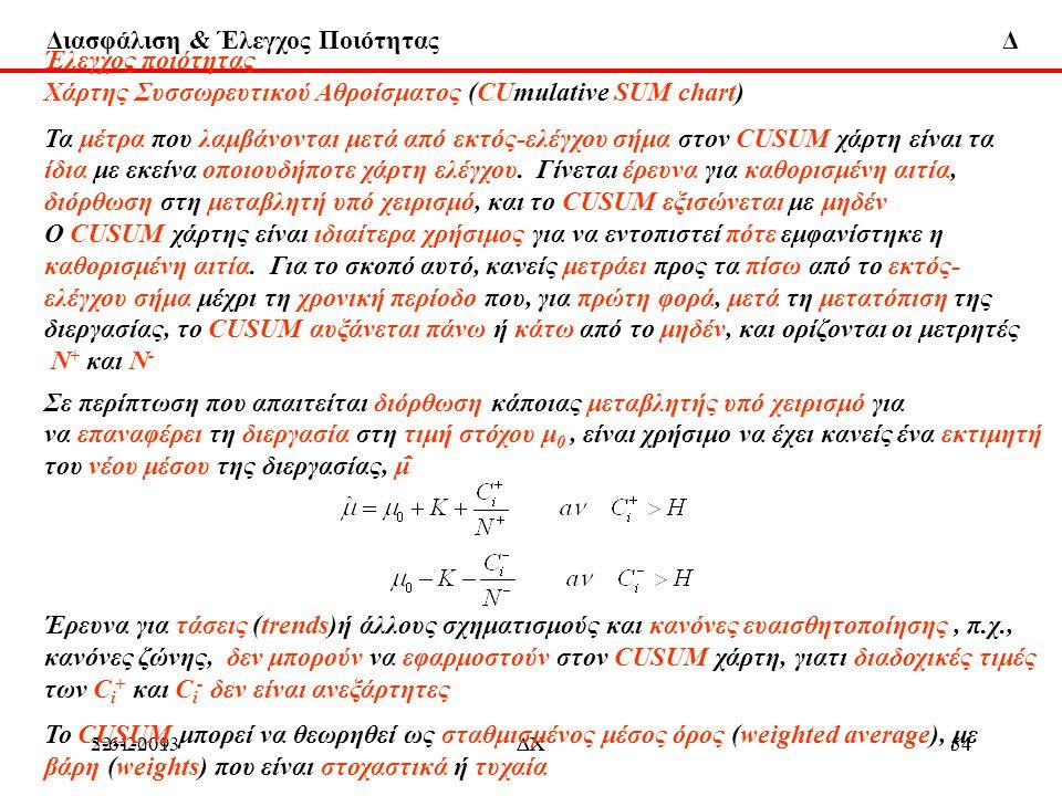 Διασφάλιση & Έλεγχος Ποιότητας Δ 22-1-2013ΔΧ545-6-2009ΔΧ54 Έλεγχος ποιότητας Χάρτης Συσσωρευτικού Αθροίσματος (CUmulative SUM chart) Τα μέτρα που λαμβ