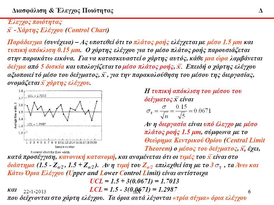 Διασφάλιση & Έλεγχος Ποιότητας Δ 22-1-2013ΔΧ7 7 Έλεγχος ποιότητας x ̅ - Χάρτης Ελέγχου (Control Chart) Παράδειγμα (συνέχεια) Στη γενική περίπτωση που το w είναι ένα στατιστικό μέγεθος του δείγματος που μετράει κάποιο χαρακτηριστικό ποιότητας που ενδιαφέρει, και μ w και σ w είναι ο μέσος και η τυπική απόκλιση του w, αντίστοιχα, η κεντρική γραμμή και τα όρια ελέγχου ορίζονται ως Κεντρική γραμμή = μ w UCL = μ w + Lσ w LCL = μ w - Lσ w όπου L είναι η απόσταση των ορίων ελέγχου από την κεντρική γραμμή, εκφρασμένη σε μονάδες τυπικής απόκλισης.