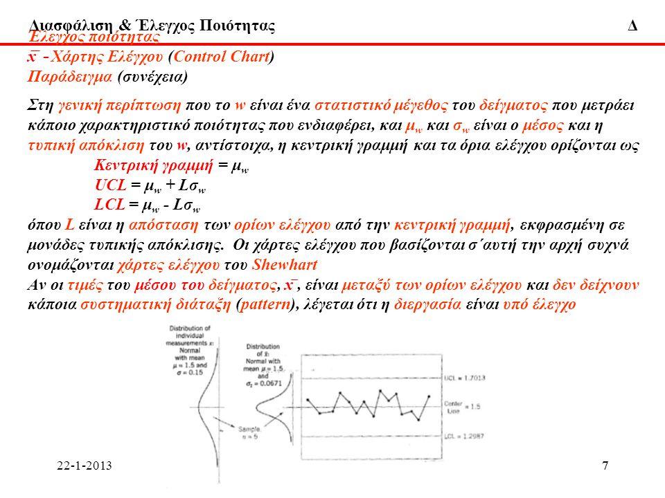 Διασφάλιση & Έλεγχος Ποιότητας Δ 22-1-2013ΔΧ58ΔΧ58 Έλεγχος ποιότητας Χάρτης Εκθετικά Σταθμισμένου Διακινούμενου Μέσου (Εxponentially Weighted Moving Average chart) Εκτός από το χάρτη CUSUM, o ΕWMA χάρτης είναι καλή εναλλακτική λύση για τον Shewhart χάρτη ελέγχου, όταν υπάρχει ενδιαφέρον για ανεύρεση μικρών μετατοπίσεων Ο Εκθετικά Σταθμισμένος Διακινούμενος Μέσος (ΕWMA) ορίζεται ως z i = λx i + (1 - λ)z i-1 όπου 0 < λ < 1 είναι μια σταθερά, και η αρχική τιμή του z είναι ίση με το στόχο της διεργασίας, z 0 = μ 0 Το z i είναι ο σταθμισμένος μέσος (weighted average) όλων των προηγουμένων μέσων δείγματος, επειδή