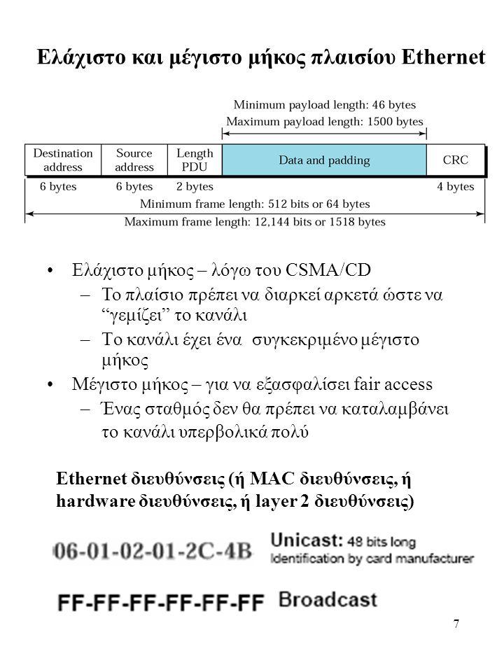 7 Ελάχιστο και μέγιστο μήκος πλαισίου Ethernet Ελάχιστο μήκος – λόγω του CSMA/CD –Το πλαίσιο πρέπει να διαρκεί αρκετά ώστε να γεμίζει το κανάλι –Tο κανάλι έχει ένα συγκεκριμένο μέγιστο μήκος Μέγιστο μήκος – για να εξασφαλίσει fair access –Ένας σταθμός δεν θα πρέπει να καταλαμβάνει το κανάλι υπερβολικά πολύ Ethernet διευθύνσεις (ή MAC διευθύνσεις, ή hardware διευθύνσεις, ή layer 2 διευθύνσεις)