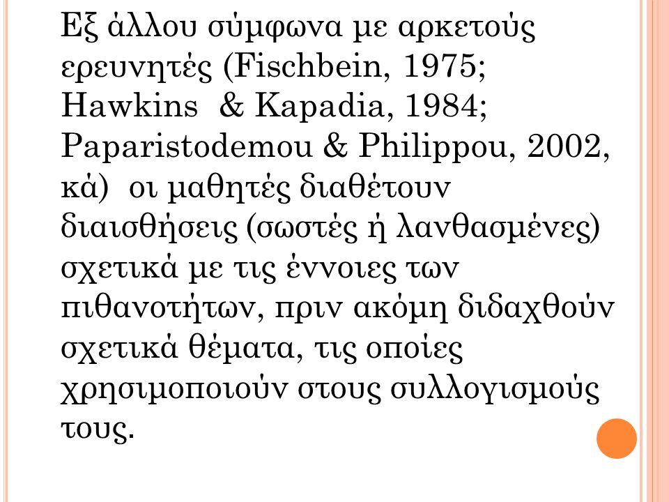 Εξ άλλου σύμφωνα με αρκετούς ερευνητές (Fischbein, 1975; Hawkins & Kapadia, 1984; Paparistodemou & Philippou, 2002, κά) οι μαθητές διαθέτουν διαισθήσε