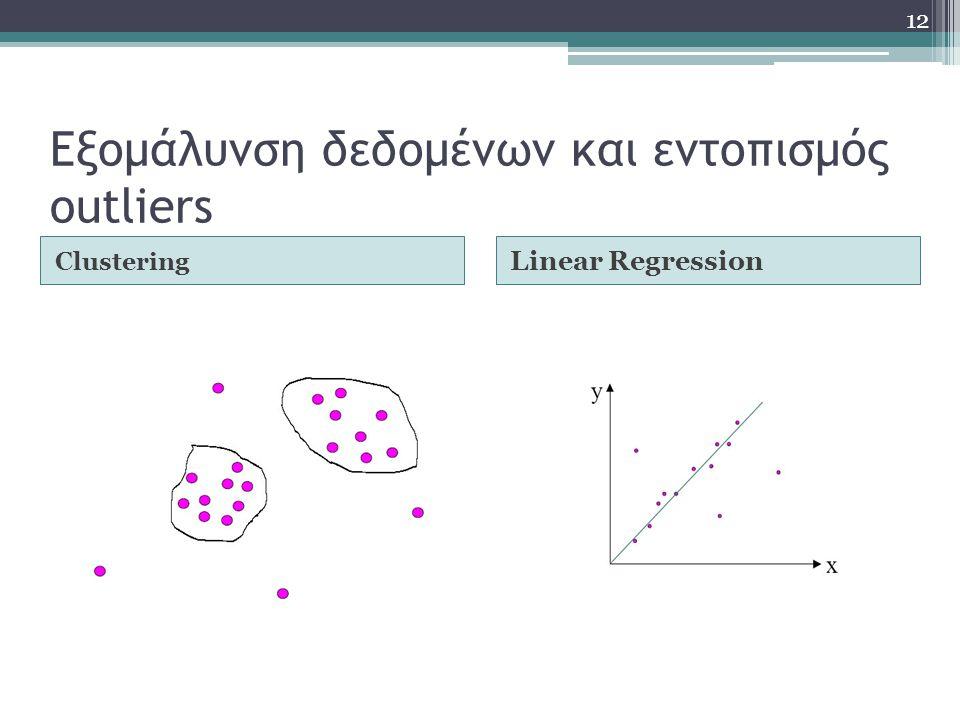 Εξομάλυνση δεδομένων και εντοπισμός outliers Clustering Linear Regression 12