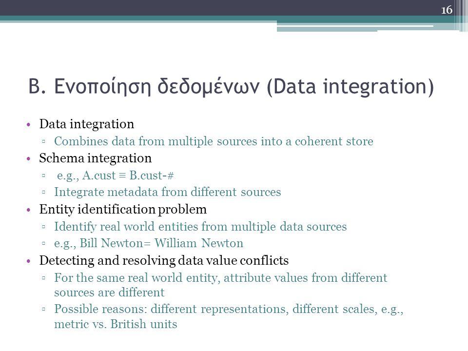 Β. Ενοποίηση δεδομένων (Data integration) Data integration ▫Combines data from multiple sources into a coherent store Schema integration ▫ e.g., A.cus