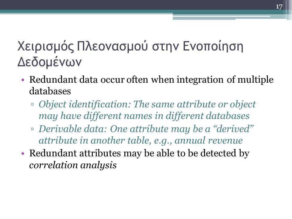 Χειρισμός Πλεονασμού στην Ενοποίηση Δεδομένων Redundant data occur often when integration of multiple databases ▫Object identification: The same attri