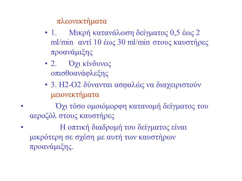 πλεονεκτήματα 1.Μικρή κατανάλωση δείγματος 0,5 έως 2 ml/min αντί 10 έως 30 ml/min στους καυστήρες προανάμιξης 2.Όχι κίνδυνος οπισθοανάφλεξης 3. Η2-Ο2