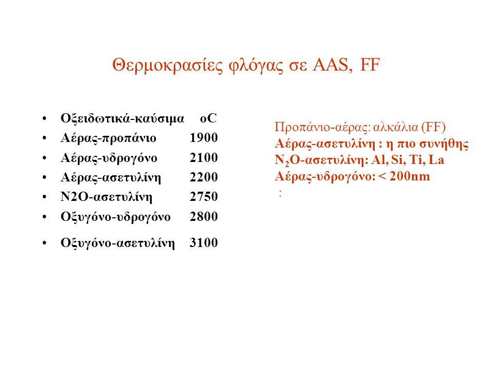 Θερμοκρασίες φλόγας σε AAS, FF Oξειδωτικά-καύσιμα oC Αέρας-προπάνιο1900 Αέρας-υδρογόνο2100 Αέρας-ασετυλίνη2200 Ν2Ο-ασετυλίνη2750 Οξυγόνο-υδρογόνο2800