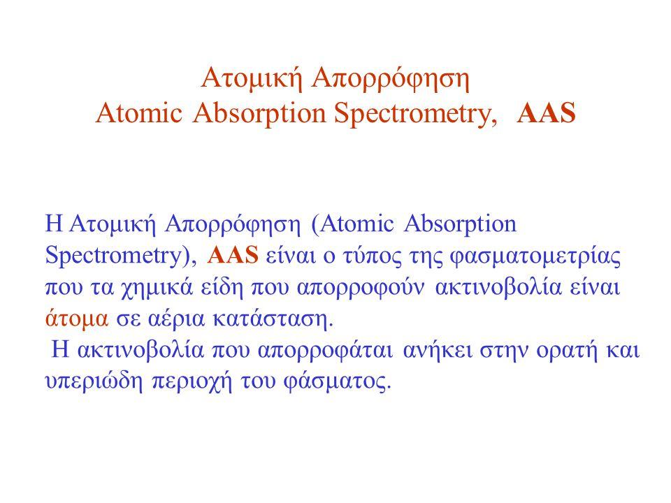 Ατομική Απορρόφηση Atomic Absorption Spectrometry, AAS Η Ατομική Απορρόφηση (Atomic Absorption Spectrometry), AAS είναι o τύπος της φασματομετρίας που