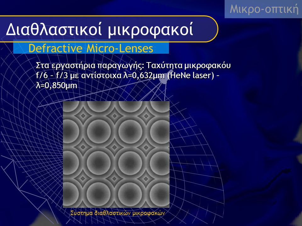 Defractive Micro-Lenses Διαθλαστικοί μικροφακοί Μικρο-οπτική Στα εργαστήρια παραγωγής: Ταχύτητα μικροφακόυ f/6 – f/3 με αντίστοιχα λ=0,632μm (HeNe las