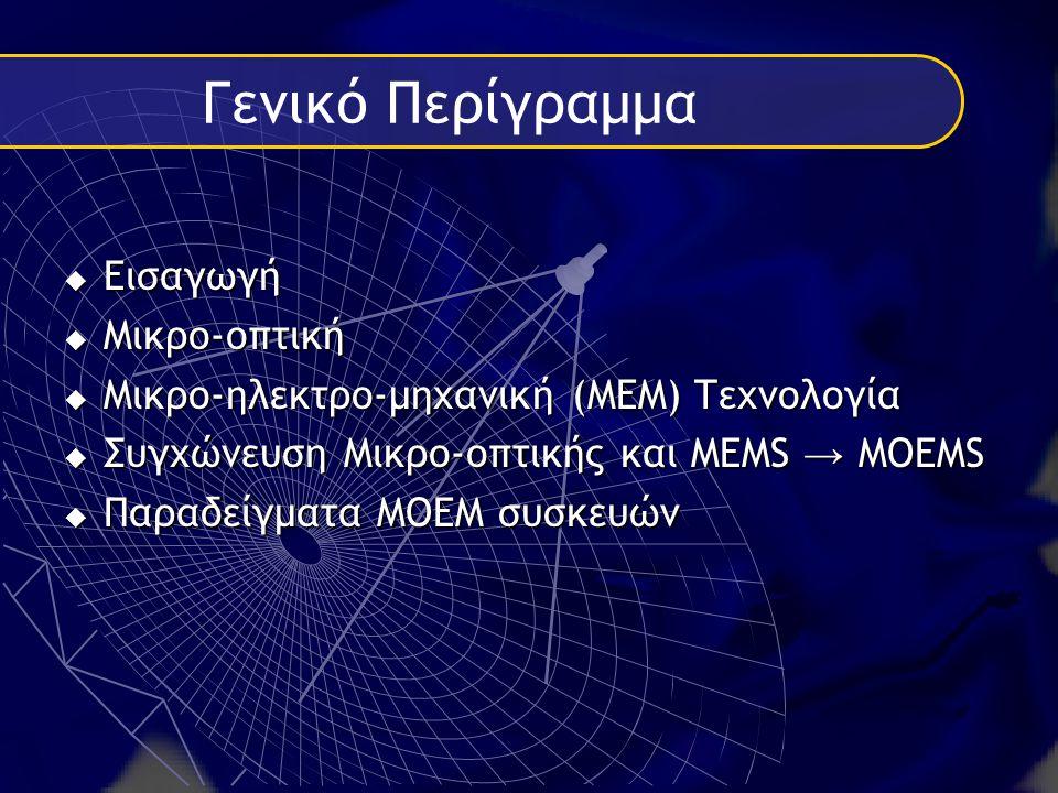 Γενικό Περίγραμμα ΕΕΕΕισαγωγή ΜΜΜΜικρο-οπτική ΜΜΜΜικρο-ηλεκτρο-μηχανική (ΜΕΜ) Τεχνολογία ΣΣΣΣυγχώνευση Μικρο-οπτικής και ΜΕΜS → MOEMS ΠΠΠΠαραδείγματα ΜΟΕΜ συσκευών