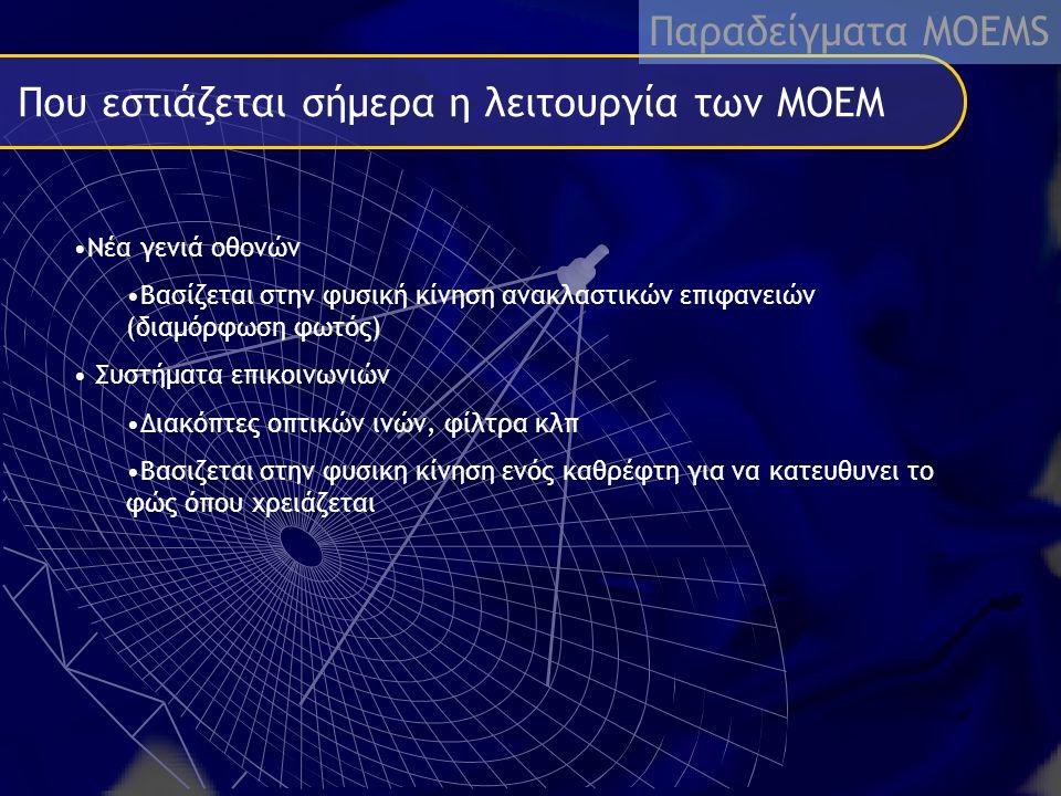 Που εστιάζεται σήμερα η λειτουργία των MOEM Νέα γενιά οθονών Βασίζεται στην φυσική κίνηση ανακλαστικών επιφανειών (διαμόρφωση φωτός) Συστήματα επικοιν