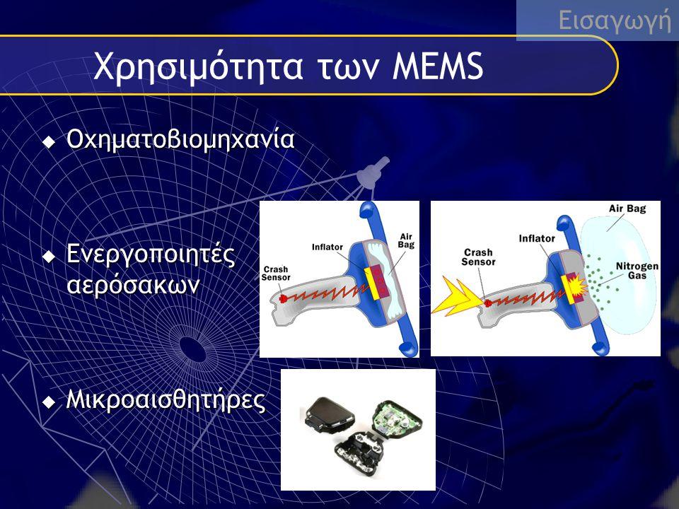 Εφαρμογές και συσκευές Συσκευές  Μικροβαλβίδες  Αισθητήρες και ενεργοποιητές  Αδρανειακοί μικροαισθητήρες  Ελεγχτές ροής Εφαρμογή Σε:  Παντος είδους οχήματα  Βιομηχανία  Βιοτεχνολογία  Στρατιωτικα συστήματα  Καθημερινές ηλεκτρικές συσκεύες MEM συσκευές ήδη εχουν εμφανιστεί και αναμένονται περισσότερες καθώς οι εταιρείες ανακαλύπτουν πως αυτή η νέα τεχνολογία εφαρμόζεται στα προίοντα δημιουργώντας μια νέα γενιά προιόντων.