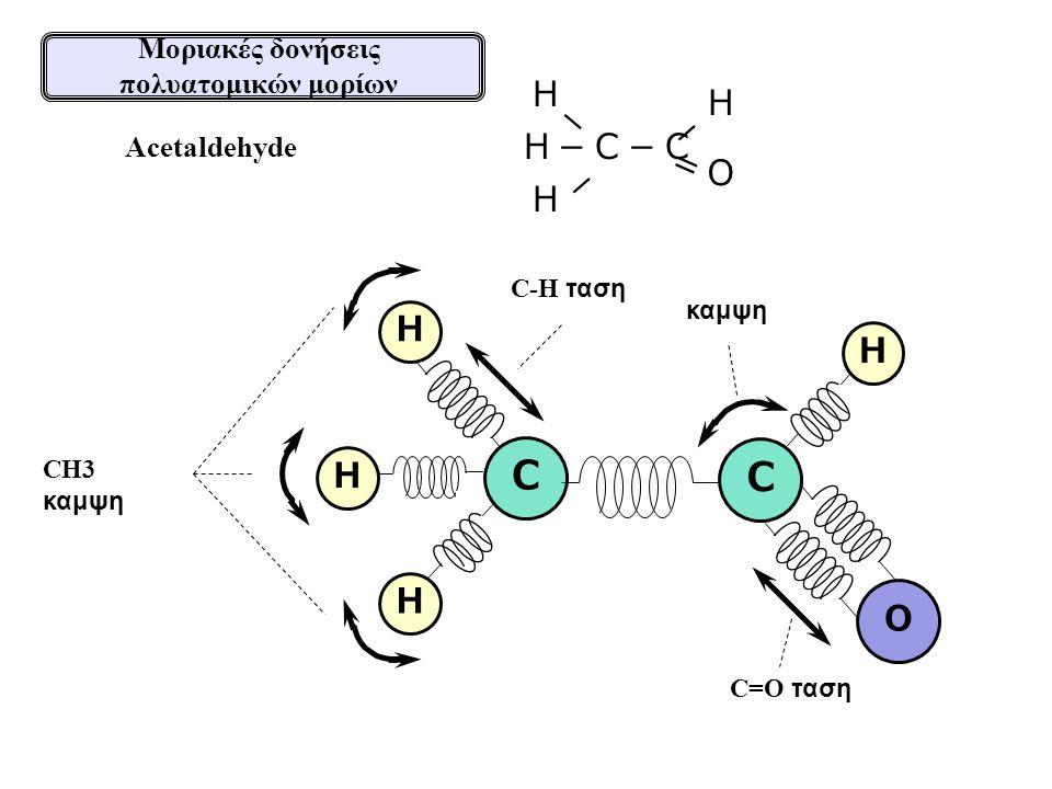 H H H H O C=O ταση Acetaldehyde H H H-C-C = O H - - - καμψη C-H ταση C CH3 καμψη Μοριακές δονήσεις πολυατομικών μορίων C