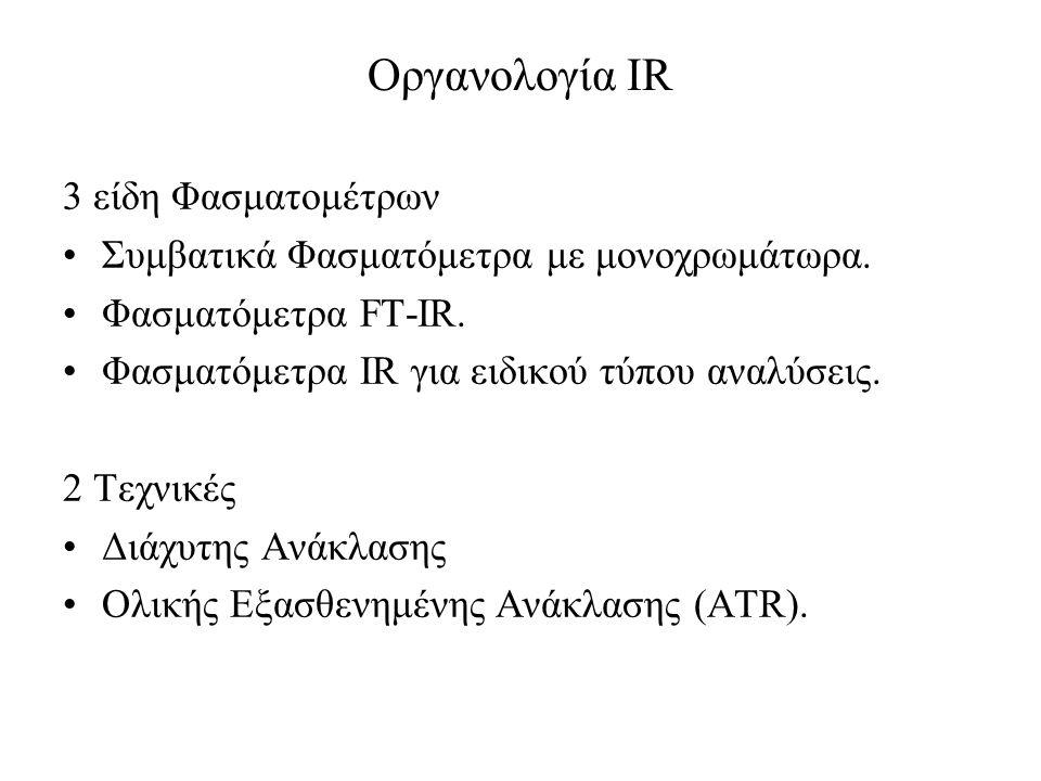 Οργανολογία IR 3 είδη Φασματομέτρων Συμβατικά Φασματόμετρα με μονοχρωμάτωρα. Φασματόμετρα FT-IR. Φασματόμετρα IR για ειδικού τύπου αναλύσεις. 2 Τεχνικ