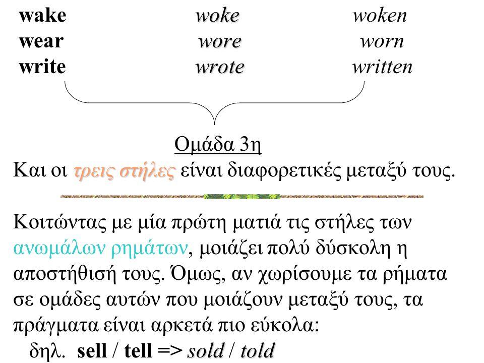 woke wore wrote τρεις στήλες soldtold wake woke woken wear wore worn write wrote written Ομάδα 3η Και οι τρεις στήλες είναι διαφορετικές μεταξύ τους.