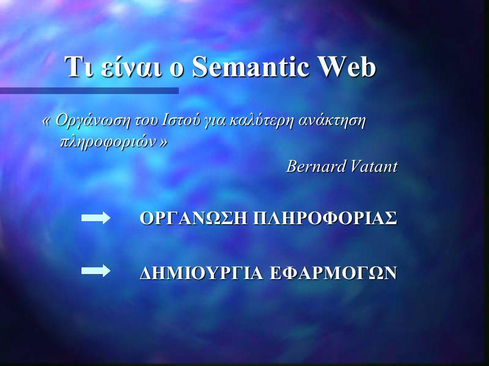 Στάδια εξέλιξης 1 ο Στάδιο: Θεωρητικοί Επιστήμονες (Oντολογίες, XML, RDF) 2 ο Στάδιο: Σύνδεση του θεωρητικού και πρακτικού μέρους (Stanford) 3 ο Στάδιο: To μέλλον του Semantic Web