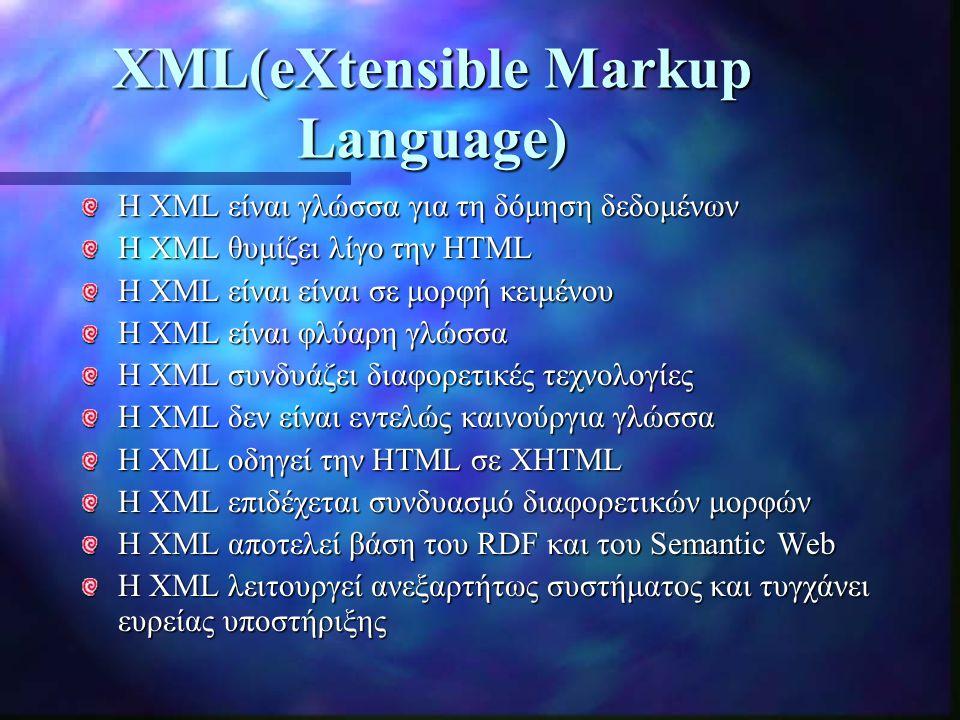 XML(eXtensible Markup Language) H XML είναι γλώσσα για τη δόμηση δεδομένων Η XML θυμίζει λίγο την HTML Η XML είναι είναι σε μορφή κειμένου Η XML είναι φλύαρη γλώσσα Η XML συνδυάζει διαφορετικές τεχνολογίες Η XML δεν είναι εντελώς καινούργια γλώσσα Η XML οδηγεί την HTML σε XHTML Η XML επιδέχεται συνδυασμό διαφορετικών μορφών Η XML αποτελεί βάση του RDF και του Semantic Web Η XML λειτουργεί ανεξαρτήτως συστήματος και τυγχάνει ευρείας υποστήριξης