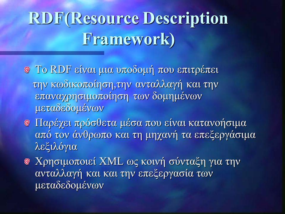 RDF(Resource Description Framework) Το RDF είναι μια υποδομή που επιτρέπει την κωδικοποίηση,την ανταλλαγή και την επαναχρησιμοποίηση των δομημένων μεταδεδομένων την κωδικοποίηση,την ανταλλαγή και την επαναχρησιμοποίηση των δομημένων μεταδεδομένων Παρέχει πρόσθετα μέσα που είναι κατανοήσιμα από τον άνθρωπο και τη μηχανή τα επεξεργάσιμα λεξιλόγια Χρησιμοποιεί XML ως κοινή σύνταξη για την ανταλλαγή και και την επεξεργασία των μεταδεδομένων