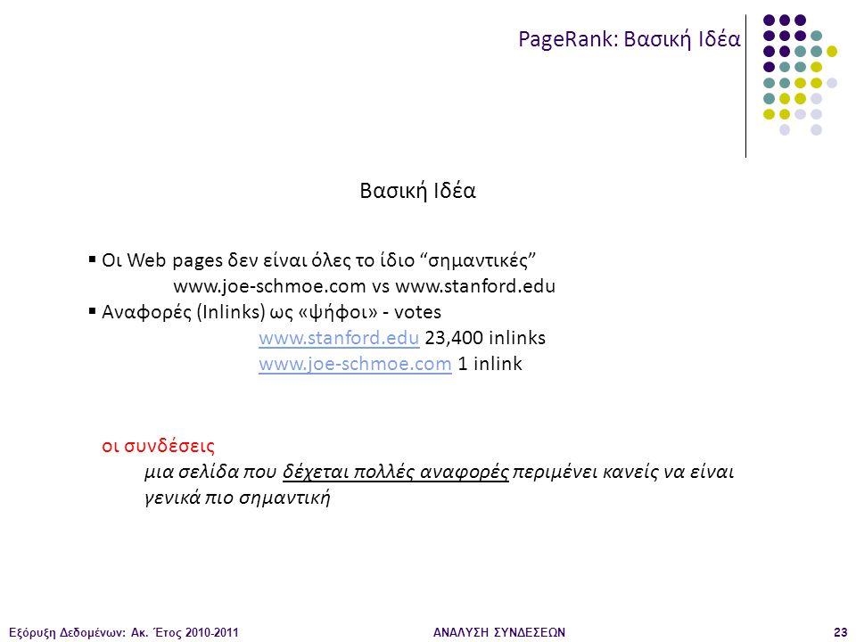 """Εξόρυξη Δεδομένων: Ακ. Έτος 2010-2011ΑΝΑΛΥΣΗ ΣΥΝΔΕΣΕΩΝ23 PageRank: Βασική Ιδέα Βασική Ιδέα  Οι Web pages δεν είναι όλες το ίδιο """"σημαντικές"""" www.joe-"""