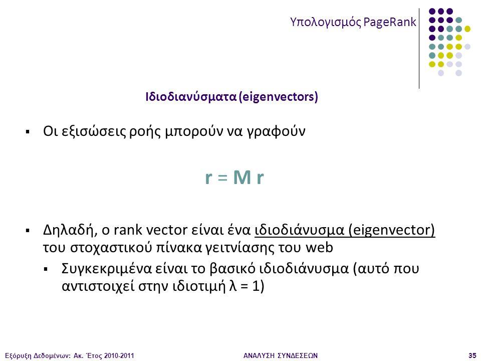 Εξόρυξη Δεδομένων: Ακ. Έτος 2010-2011ΑΝΑΛΥΣΗ ΣΥΝΔΕΣΕΩΝ35  Οι εξισώσεις ροής μπορούν να γραφούν r = M r  Δηλαδή, ο rank vector είναι ένα ιδιοδιάνυσμα