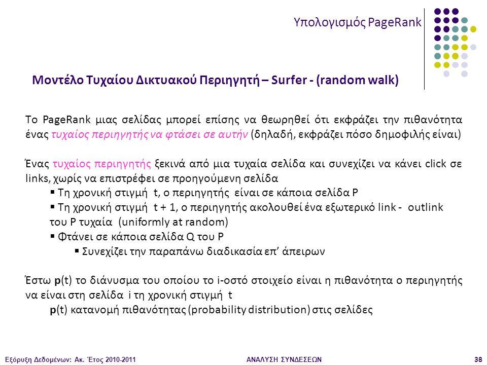 Εξόρυξη Δεδομένων: Ακ. Έτος 2010-2011ΑΝΑΛΥΣΗ ΣΥΝΔΕΣΕΩΝ38 Μοντέλο Τυχαίου Δικτυακού Περιηγητή – Surfer - (random walk) Υπολογισμός PageRank Tο PageRank