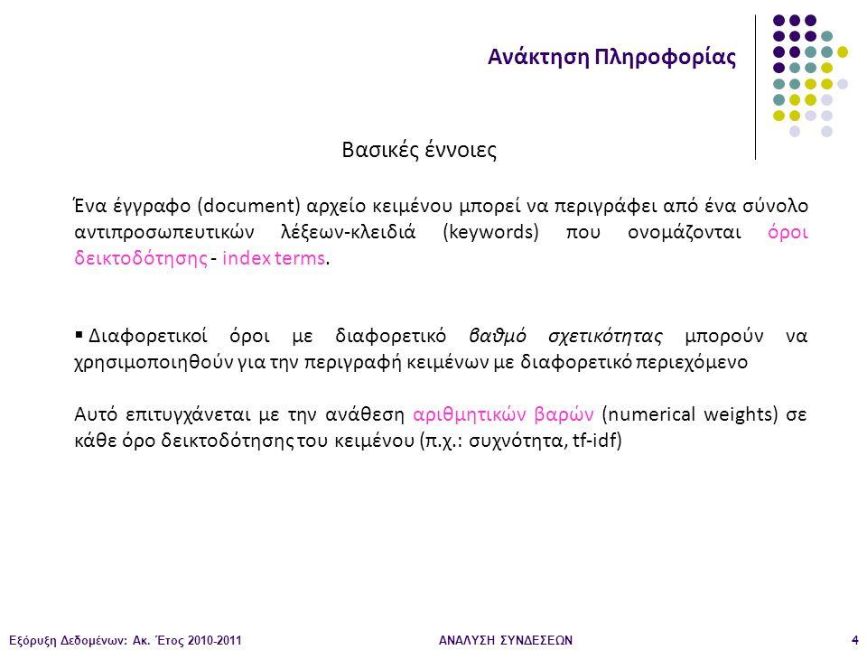 Εξόρυξη Δεδομένων: Ακ. Έτος 2010-2011ΑΝΑΛΥΣΗ ΣΥΝΔΕΣΕΩΝ4 Ανάκτηση Πληροφορίας Βασικές έννοιες Ένα έγγραφο (document) αρχείο κειμένου μπορεί να περιγράφ