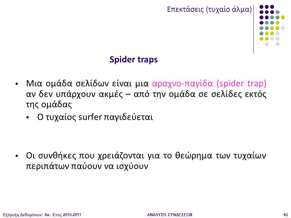 Εξόρυξη Δεδομένων: Ακ. Έτος 2010-2011ΑΝΑΛΥΣΗ ΣΥΝΔΕΣΕΩΝ41  Μια ομάδα σελίδων είναι μια αραχνο-παγίδα (spider trap) αν δεν υπάρχουν ακμές – από την ομά