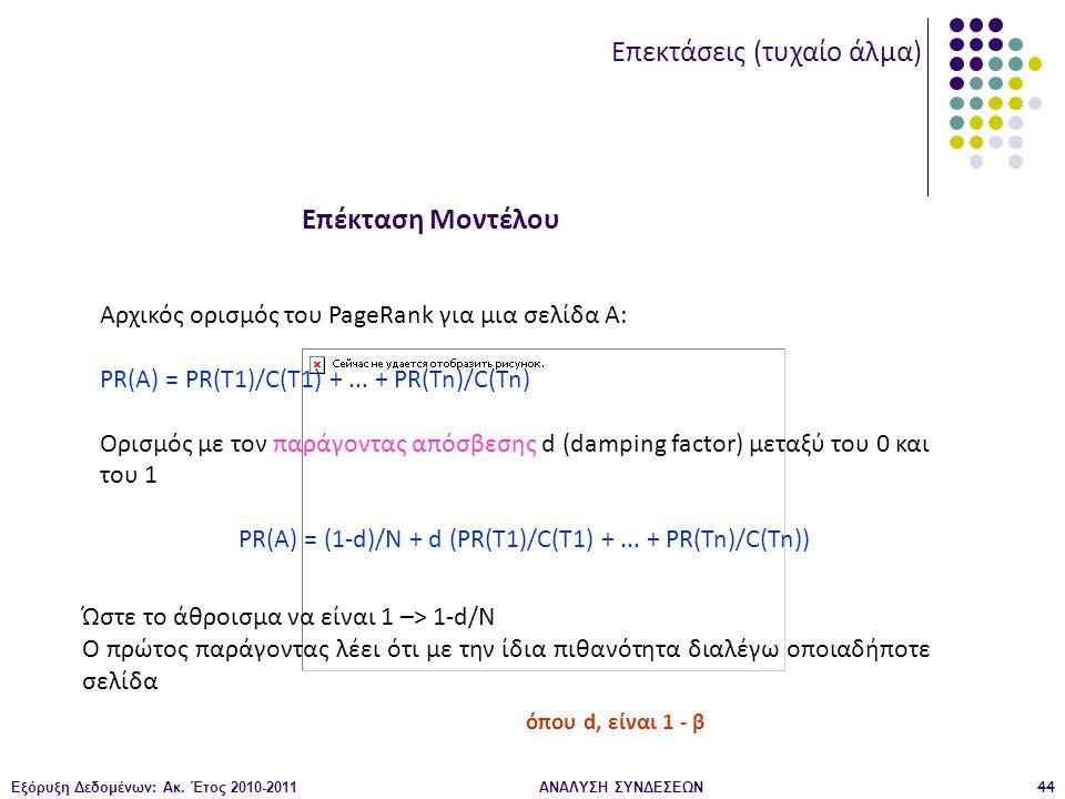 Εξόρυξη Δεδομένων: Ακ. Έτος 2010-2011ΑΝΑΛΥΣΗ ΣΥΝΔΕΣΕΩΝ44 Αρχικός ορισμός του PageRank για μια σελίδα Α: PR(A) = PR(T1)/C(T1) +... + PR(Tn)/C(Tn) Ορισμ