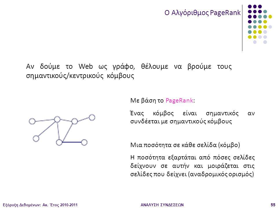 Εξόρυξη Δεδομένων: Ακ. Έτος 2010-2011ΑΝΑΛΥΣΗ ΣΥΝΔΕΣΕΩΝ55 O Αλγόριθμος PageRank Αν δούμε το Web ως γράφo, θέλουμε να βρούμε τους σημαντικούς/κεντρικούς