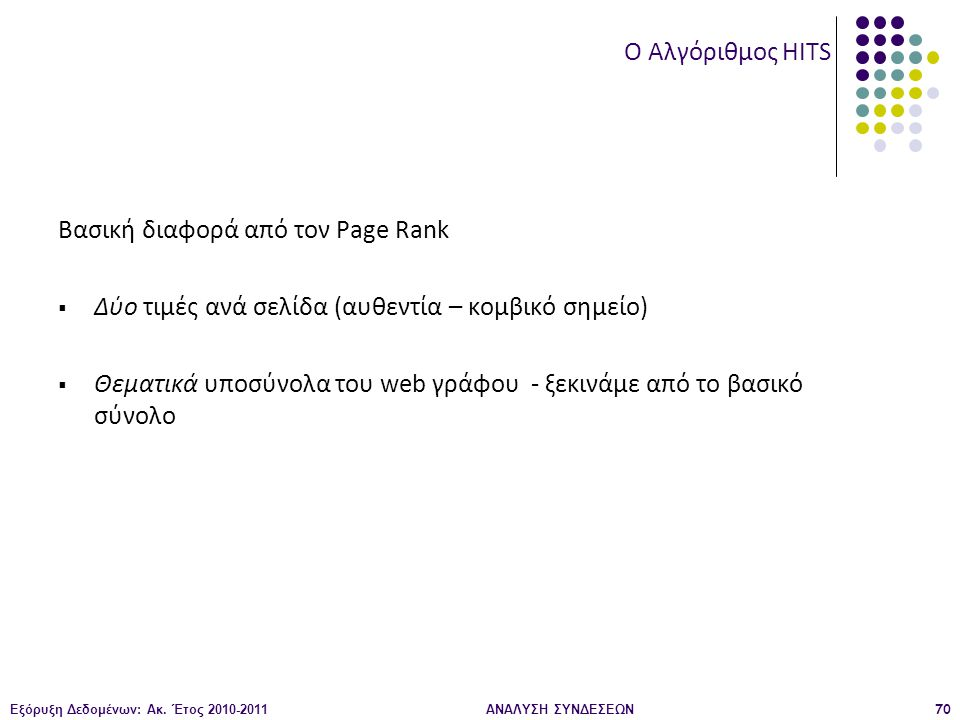 Εξόρυξη Δεδομένων: Ακ. Έτος 2010-2011ΑΝΑΛΥΣΗ ΣΥΝΔΕΣΕΩΝ70 Βασική διαφορά από τον Page Rank  Δύο τιμές ανά σελίδα (αυθεντία – κομβικό σημείο)  Θεματικ