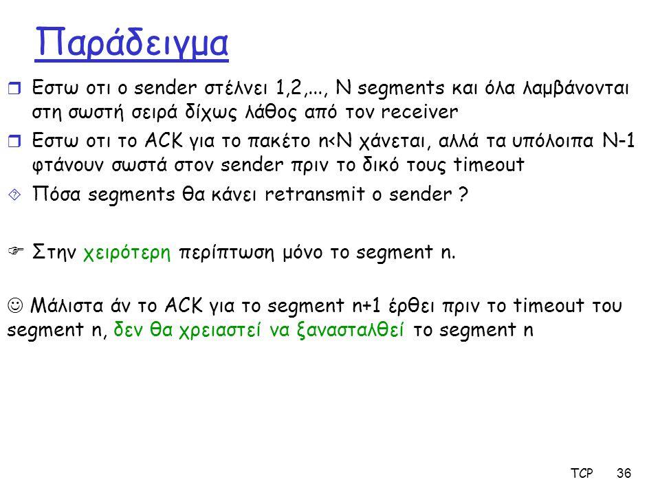 TCP36 Παράδειγμα r Εστω οτι ο sender στέλνει 1,2,..., Ν segments και όλα λαμβάνονται στη σωστή σειρά δίχως λάθος από τον receiver r Εστω οτι το ACK γι