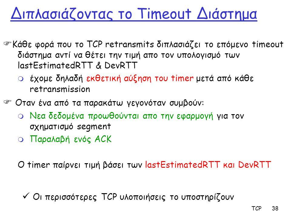 TCP38 Διπλασιάζοντας το Timeout Διάστημα  Κάθε φορά που το TCP retransmits διπλασιάζει το επόμενο timeout διάστημα αντί να θέτει την τιμή απο τον υπο