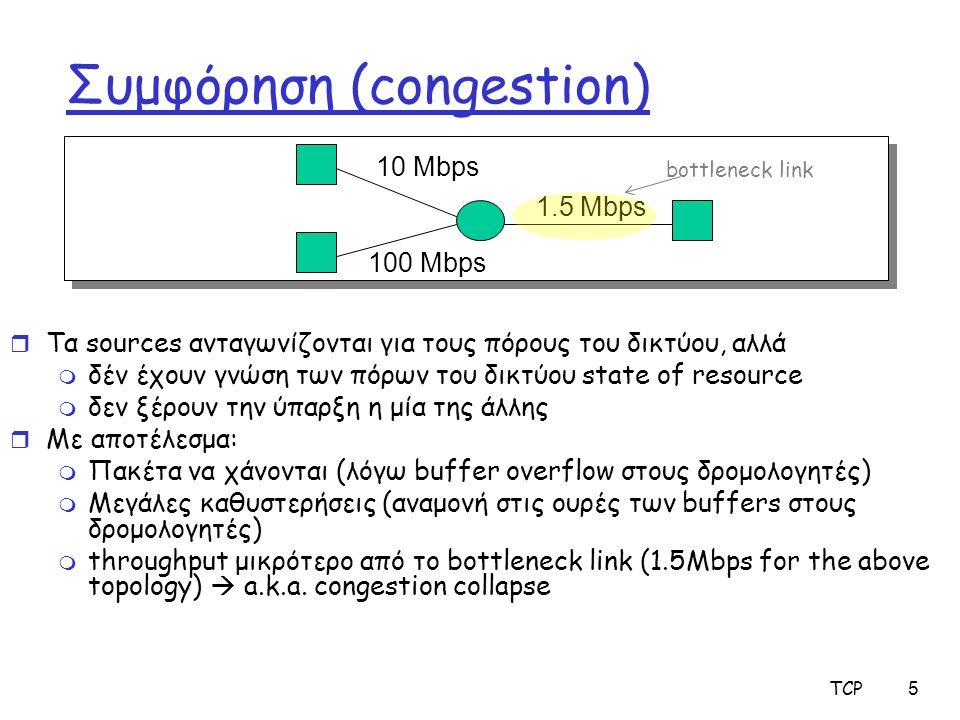 TCP5 Συμφόρηση (congestion) r Τα sources ανταγωνίζονται για τους πόρους του δικτύου, αλλά m δέν έχουν γνώση των πόρων του δικτύου state of resource m δεν ξέρουν την ύπαρξη η μία της άλλης r Με αποτέλεσμα: m Πακέτα να χάνονται (λόγω buffer overflow στους δρομολογητές) m Μεγάλες καθυστερήσεις (αναμονή στις ουρές των buffers στους δρομολογητές) m throughput μικρότερο από το bottleneck link (1.5Mbps for the above topology)  a.k.a.