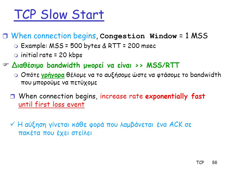 TCP56 TCP Slow Start  When connection begins, Congestion Window = 1 MSS m Example: MSS = 500 bytes & RTT = 200 msec m initial rate = 20 kbps  Διαθέσ