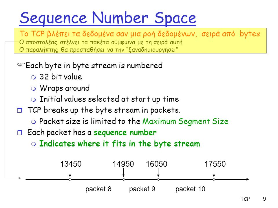 TCP9 Sequence Number Space  Each byte in byte stream is numbered m 32 bit value m Wraps around m Initial values selected at start up time r TCP break