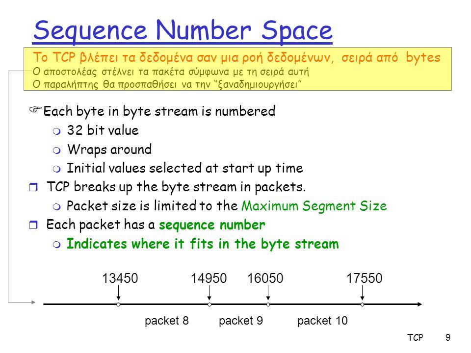 TCP30 TCP sender events: Data received from application: r Δημιουργεί segment με seq # seq # is byte-stream αριθμός του πρώτου data byte στο segment r Αρχίζει τον timer, εάν δεν τρέχει ήδη Ο timer κάθε φορά αντιστοιχεί στο παλιότερο unacked segment  Υπάρχει μονάχα ένας timer για το κάθε TCP flow στο host  expiration interval: TimeOutInterval Timeout: r Ξαναστέλνει το segment που προκάλεσε το timeout r Ξανα αρχινά το timer Ack received: r Εάν acknowledges παλιότερα unacked segments m Ενημέρωσε τους buffers/παραμέτρους για το τι ειναι γνωστό να έχει γίνει acked m Αρχισε το timer εάν υπάρχουν outstanding segments
