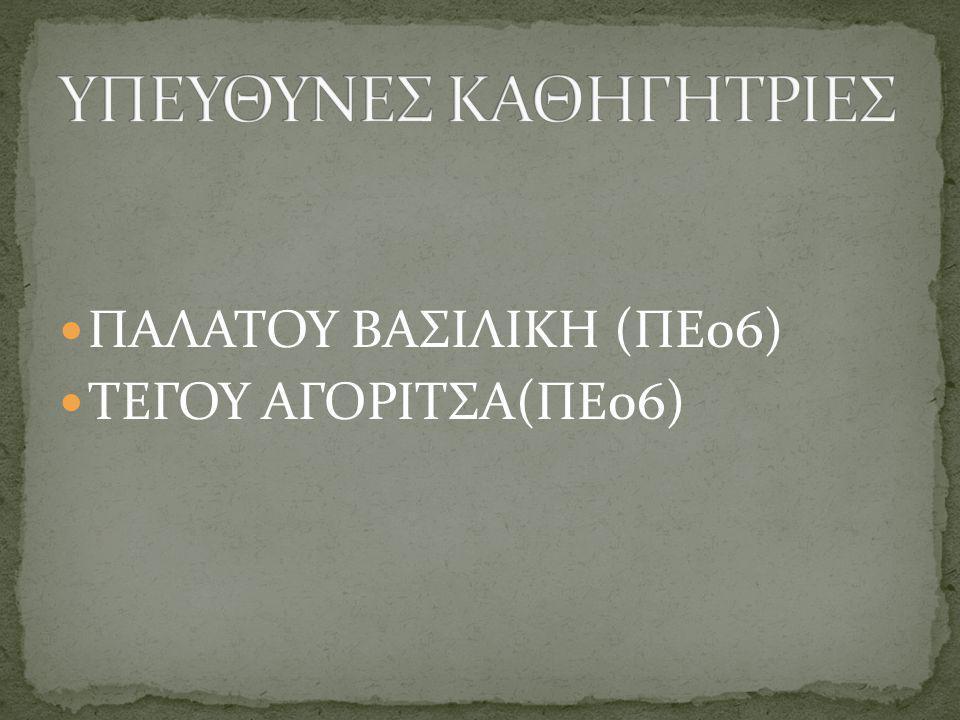 ΠΑΛΑΤΟΥ ΒΑΣΙΛΙΚΗ (ΠΕ06) ΤΕΓΟΥ ΑΓΟΡΙΤΣΑ(ΠΕ06)