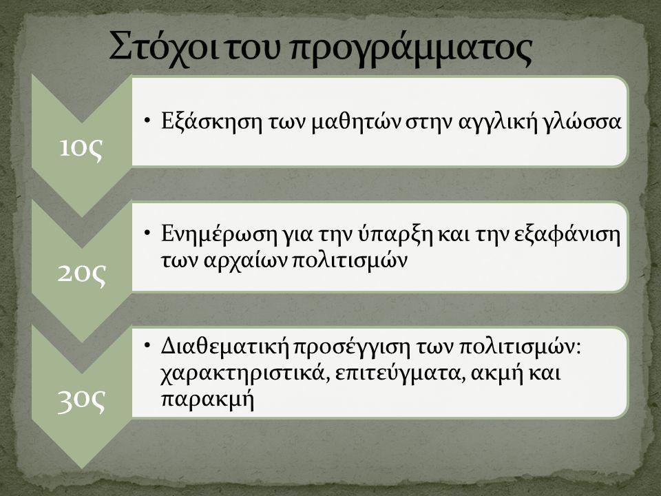 1ος Εξάσκηση των μαθητών στην αγγλική γλώσσα 2ος Ενημέρωση για την ύπαρξη και την εξαφάνιση των αρχαίων πολιτισμών 3ος Διαθεματική προσέγγιση των πολι