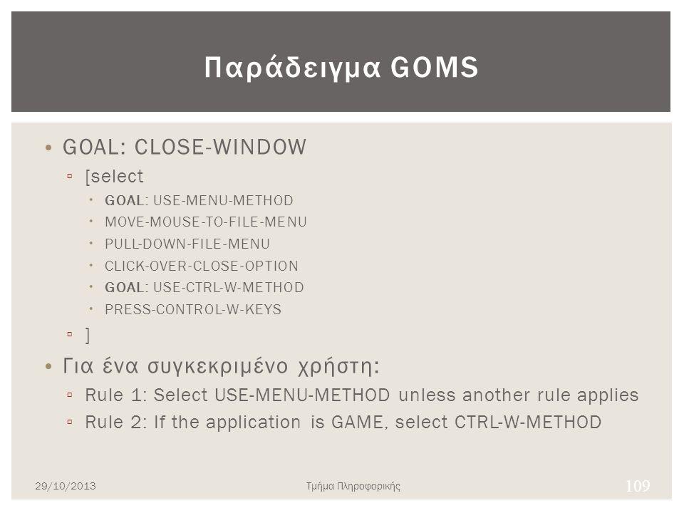 Παράδειγμα GOMS GOAL: CLOSE-WINDOW ▫ [select  GOAL: USE-MENU-METHOD  MOVE-MOUSE-TO-FILE-MENU  PULL-DOWN-FILE-MENU  CLICK-OVER-CLOSE-OPTION  GOAL: