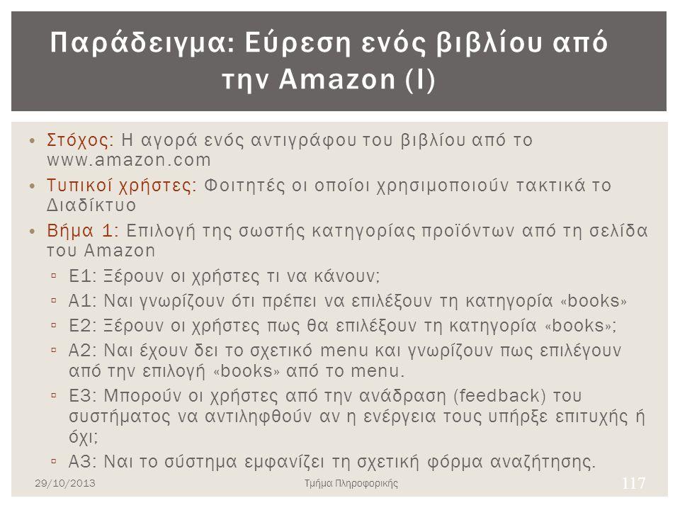 Παράδειγμα: Εύρεση ενός βιβλίου από την Amazon (Ι) Στόχος: Η αγορά ενός αντιγράφου του βιβλίου από το www.amazon.com Τυπικοί χρήστες: Φοιτητές οι οποί