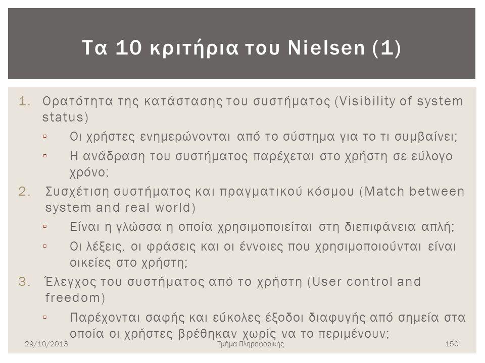 Τα 10 κριτήρια του Nielsen (1) 1.Ορατότητα της κατάστασης του συστήματος (Visibility of system status) ▫ Οι χρήστες ενημερώνονται από το σύστημα για τ