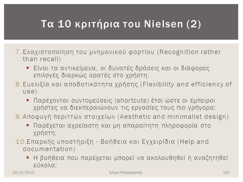 Τα 10 κριτήρια του Nielsen (2) 7.Ελαχιστοποίηση του μνημονικού φορτίου (Recognition rather than recall)  Είναι τα αντικείμενα, οι δυνατές δράσεις και