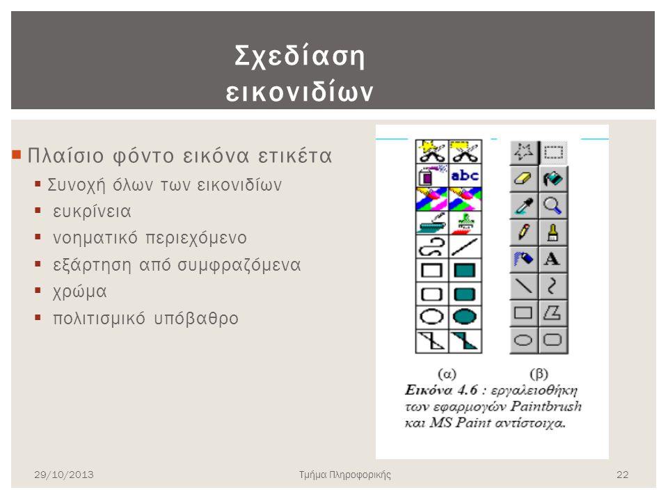 Σχεδίαση εικονιδίων  Πλαίσιο φόντο εικόνα ετικέτα  Συνοχή όλων των εικονιδίων  ευκρίνεια  νοηματικό περιεχόμενο  εξάρτηση από συμφραζόμενα  χρώμ