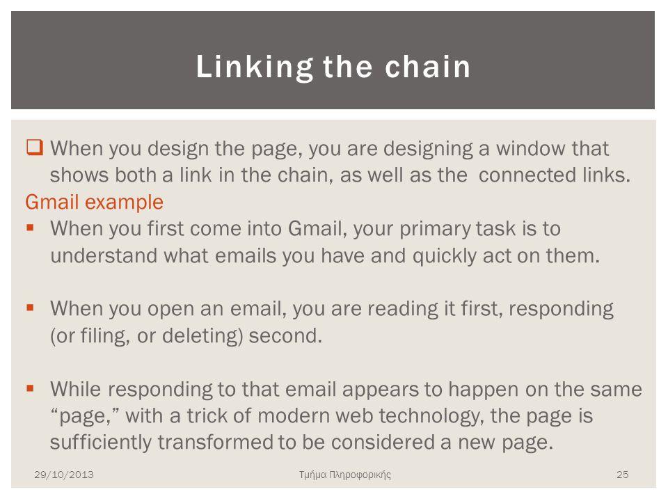 Τμήμα Πληροφορικής Linking the chain  When you design the page, you are designing a window that shows both a link in the chain, as well as the connec